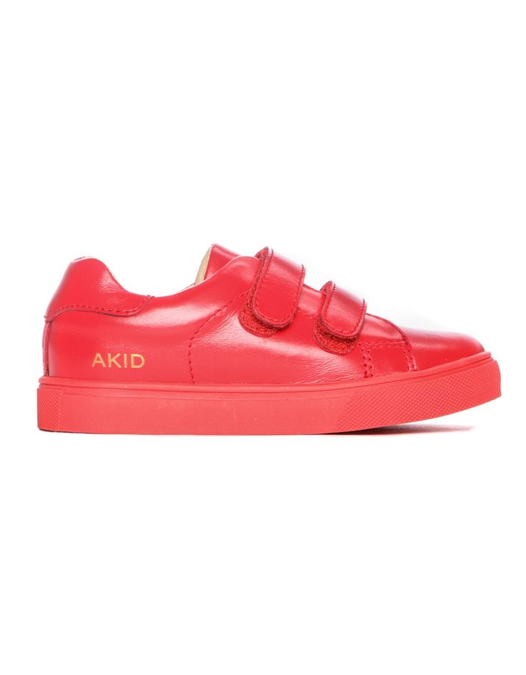 Akid Axel Velcro Leather Trainer Red | Accent Clothing