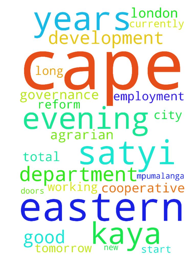 Good evening My name is Kaya Satyi - Good evening My name is Kaya Satyi from the Eastern Cape in East London. I am currently unemployed but will be submitting a total of 14 applications tomorrow apart from the more than 40 I submitted in 2016, 9 of which are for the City of Cape Town, 4 for the Department of Cooperative Governance in the Eastern Cape, 1 for Mpumalanga Legislature and and 1 for the Department of Rural Development and Agrarian Reform in the Eastern Cape. I have 10 years…