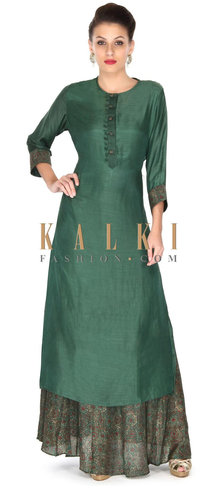 Buy this Green dress matched with long printed inner only on Kalki