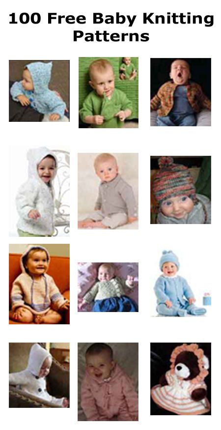 Over 100 free baby knitting patterns.
