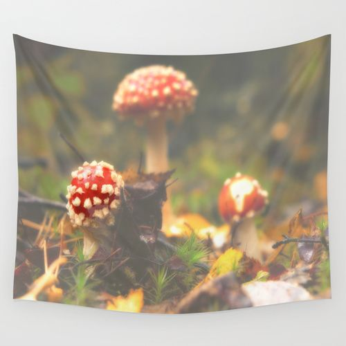 The three in the woods, Amanita muscaria Wall Tapestry