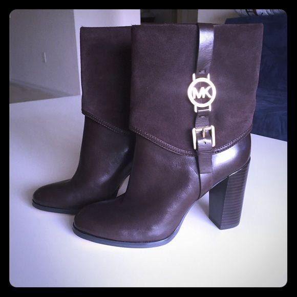 -S O L D- Make an offer! Brand new MK Boots Brown 9 Michael Kors Shoes Heeled Boots