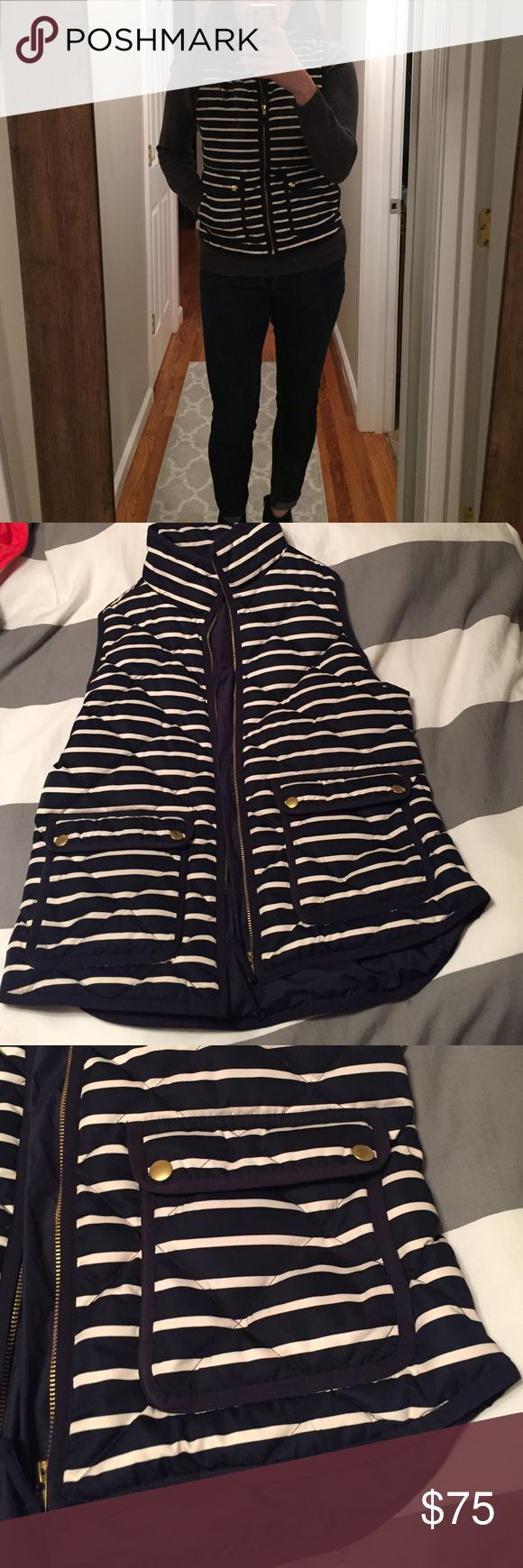 J. Crew Quilted Puffer Vest Great condition J.Crew vest. Navy and white stripes. Worn a handful of times. Such a hard decision to part with it but it doesn't get enough wear because I have so many vests. J. Crew Jackets & Coats Vests