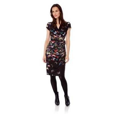 Uttam Boutique Black butterfly print wrap dress- at Debenhams.com