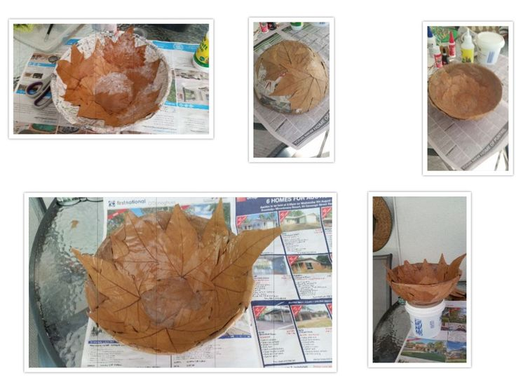 Collected leaves from Tenterfield. Maple Tree leaves, made paper mache bowl, then covered with leaves. Lot of trial and error with glues etc, but finally got them to stick. Then couple of layers of water based estapol. Leaves very brittle now, so no handling. Is a decoration and remembrance to Bobby (Duncan's brother) who passed away on Mothers Day 2017.