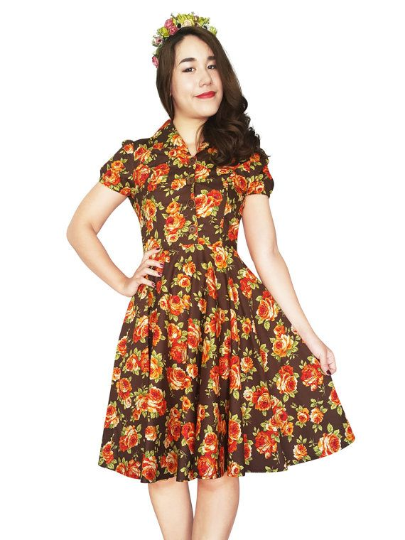 Brown Vintage Floral Dress Plus Size Dress Autumn Dress Orange Rose 1950s Dress Rockabilly Clothing Pin Up Swing Retro Bridesmaid Tea Party
