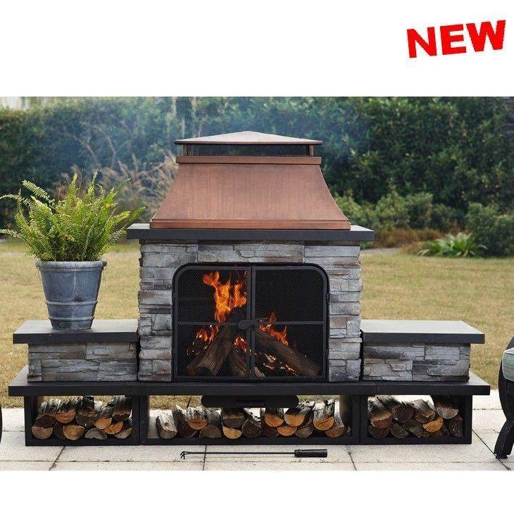 Outdoor Large Fireplace Kits Wood Burning Bbq Heat Stone Steel