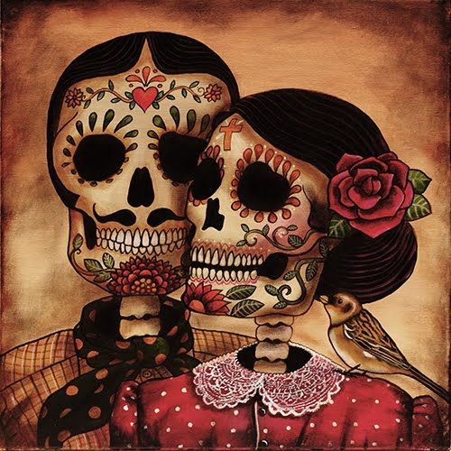 Kerry Evans Art  I just love it. I'm an eternal love fanatic. And nothing says it more than Dios de los Meurtes. One exhibition I say in San Francisco was of a man and a woman riding a bicycle for two high above my head right over the moon. Love it. Till death do we part. NEVER!