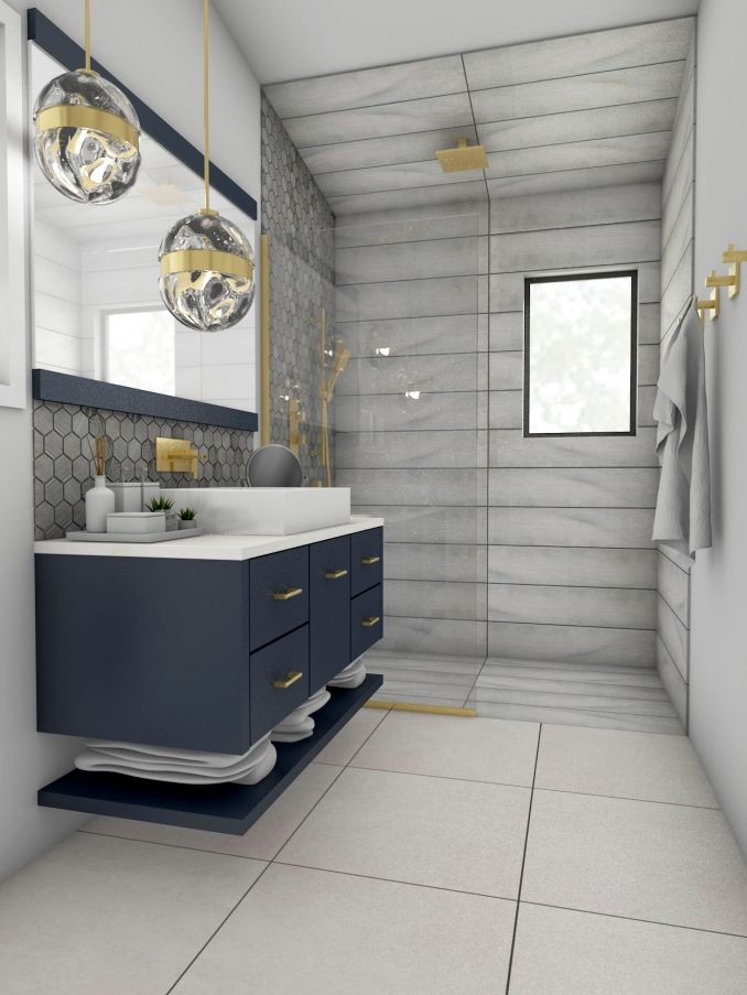 50+ Grey bathroom with navy accents inspirations
