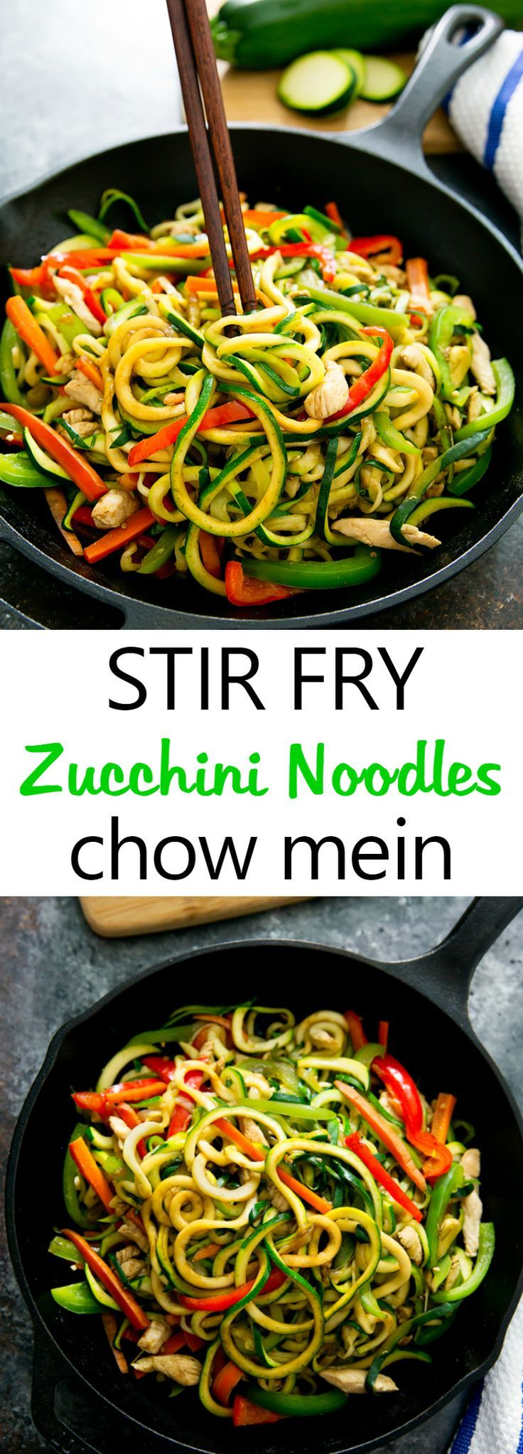 Stir Fry Zucchini Noodles Chow Mein. This low carb version of the popular Chinese noodle dish is ready in less than 30 minutes!