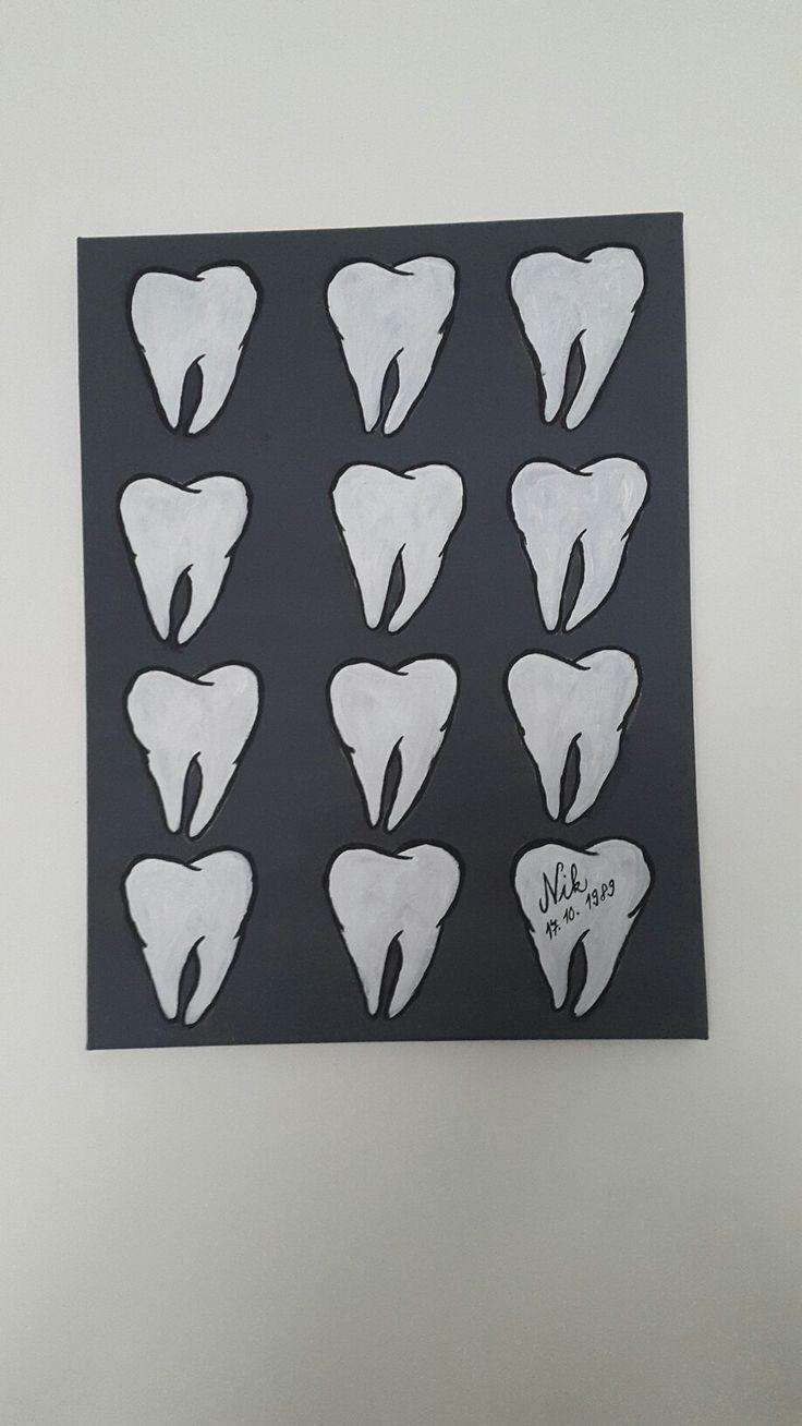 Acrylic painting, teeth