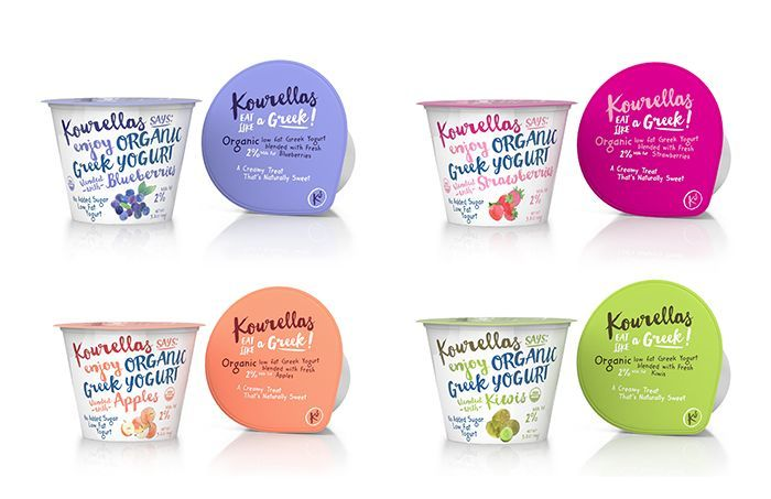 organic greek yogurt - It's never easy to establish an honest, thoughtful connection with consumers, but the Kourellas Organic Greek Yogurt packaging does so with g...