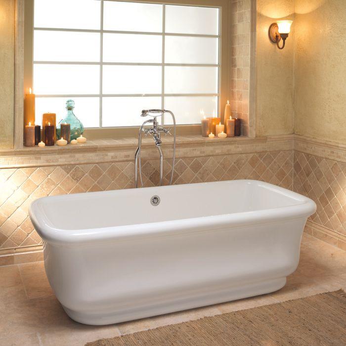 Tub, Minus Boring Walls, Add Gray Slate Floors And A Warm