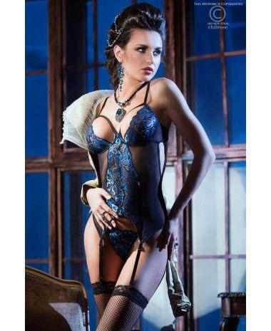GUÊPIÈRE BLEU SAPHIR ET RÉSILLE NOIR CHILIROSE #lingerie #shopping #sexy #femme #chic #corset