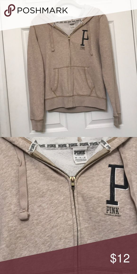 Beige Love Pink Jacket Love Pink Jacket in oatmeal. No flaws but has been worn a bit so it has some wear. Size extra small PINK Victoria's Secret Jackets & Coats