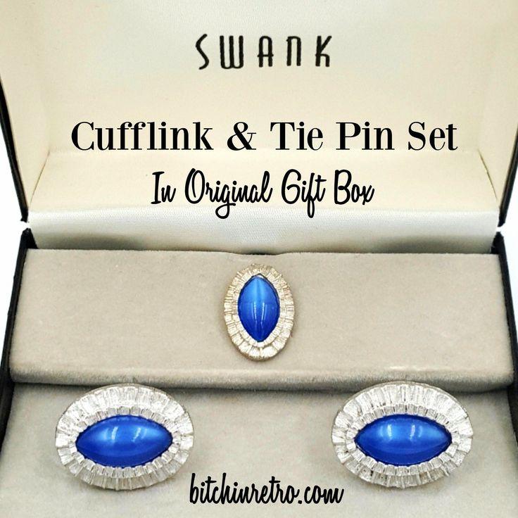 vintage cufflinks Swank Spartan 1950s rockabilly blue Designers Collections original box offered by Vintage Men/'s Swag DR-1