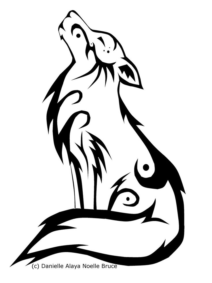 Line Art Wolf Tattoo: Tribal Howling Wolf By PassionatePaints