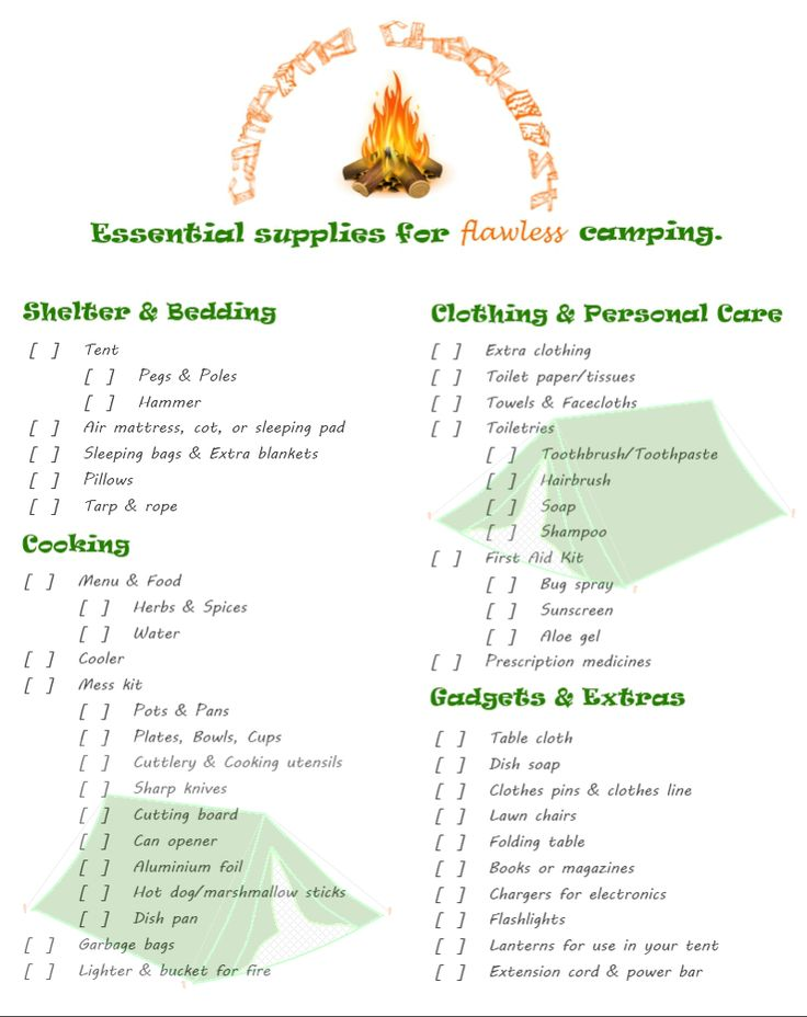 If I don't write things down... I forget. Great place to start... Camping Checklist – Essential Supplies for Flawless Camping