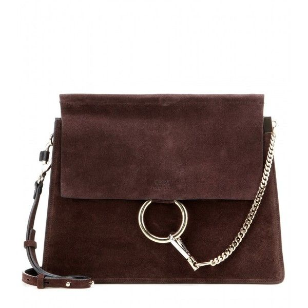 Chloé Faye Suede Shoulder Bag (28,630 MXN) ❤ liked on Polyvore featuring bags, handbags, shoulder bags, brown, suede handbags, brown suede handbag, suede shoulder bag, brown handbags and chloe purses