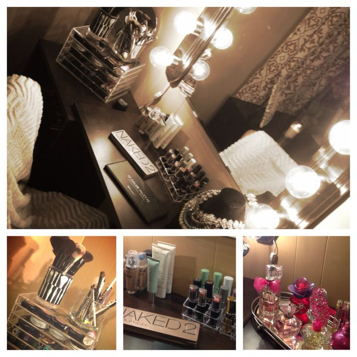 Diy makeup station mirror ikea lights homedepot clear for Room decor marshalls