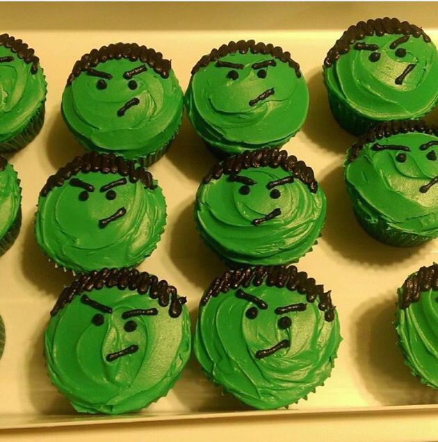 My son's Hulk cupcakes! 2015
