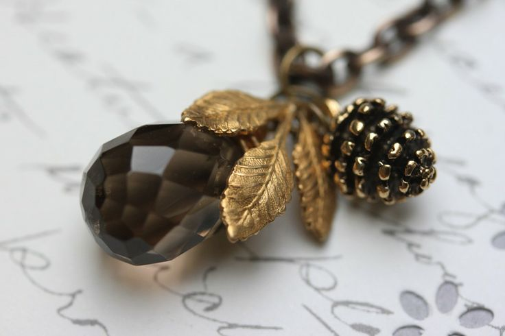 Smokey Topaz Necklace , Pine Cone and Golden Leaf Necklace, Brown Gemstone Necklace. $36.00, via Etsy. Love This - vintage & nature appeal