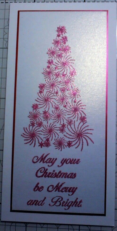 Stamps by Chloe Christmas tree & sentiment embossed with Wow glitter powder. Made by Lynne Lee.