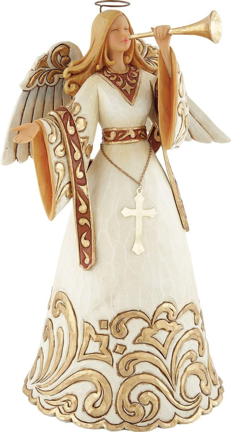 Rejoice Ivory and Gold Angel: Jim Shore: Figurine: FamilyChristian.com