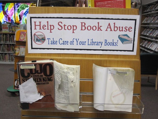 Help Stop Book Abuse Display, do at beginning of the year to help illustrate importance of proper book care and handling. #display #bookcare