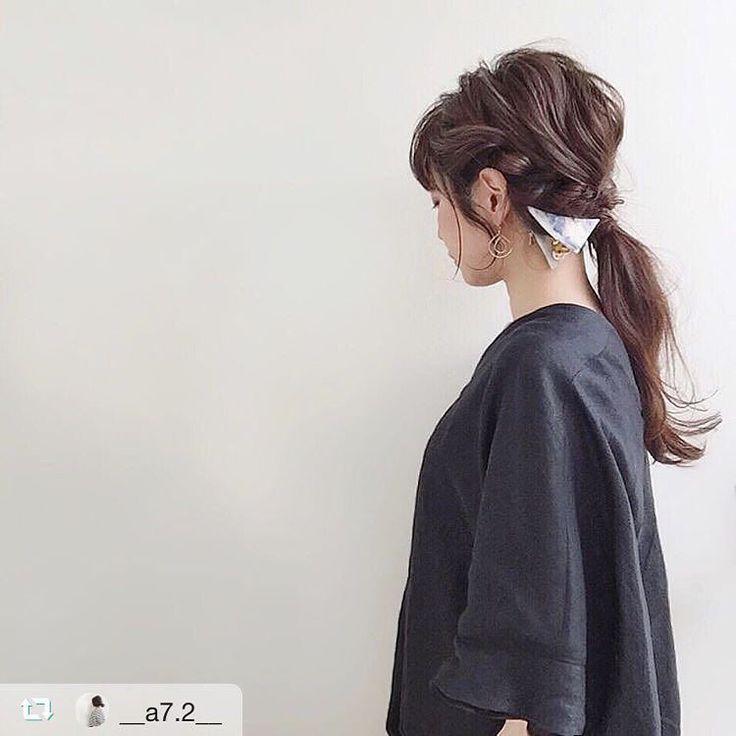 こちらもステキ  akiさん(@__a7.2__ )  #sAnコレ  #repost @__a7.2__ via @PhotoAroundApp  #hairarrange ネジネジポニー サンカククリップは シンプルなファッションに ピッタリ . #gallardagalante #san #サンカククリップ