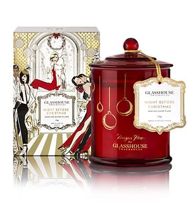 Glasshouse Fragrances - Limited Edition Night Before Christmas 350g Candle. Inspired by plum puddings, Grandma's treats and festive fruits, Night Before Christmas combines Blackcurrant, Plum, Lemon and Lavender to remind you of everything that's magical about Christmas.