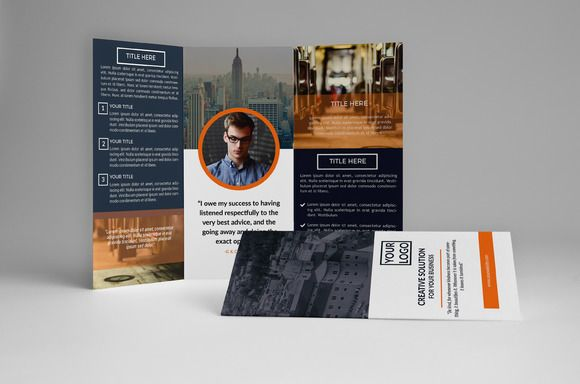 Biru Trifold Brochure by assaiv on Creative Market