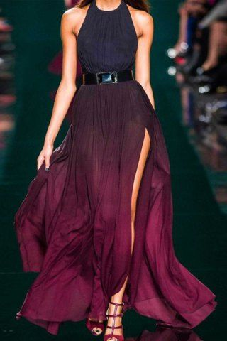 Elegant Halter Neck Sleeveless Ombre Color High Slit Women's Maxi DressMaxi Dresses | RoseGal.com