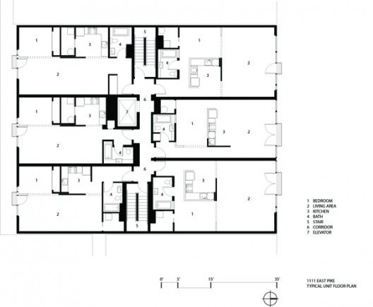 1111 e pike olson kundig architects floor plans for Infill home plans