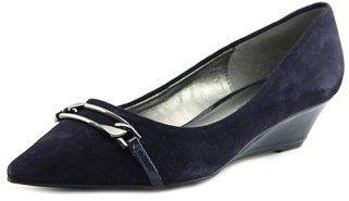 Bandolino Yorinna Women Open Toe Canvas Blue Wedge Heel.