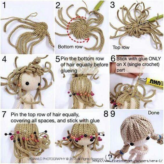 84 best причёски куклам images on Pinterest | Juguetes de ganchillo ...