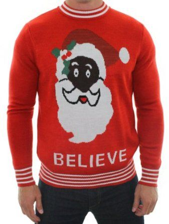 Ugly Christmas Sweater - Black Santa Sweater by Tipsy Elves