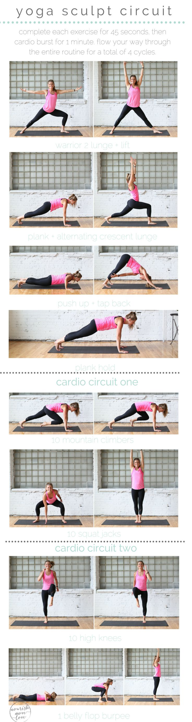 four yoga-inspired strength exercises paired with two cardio intervals for a 30 minute, yoga sculpt circuit workout that's sure to tighten, tone, and get your heart pumping.