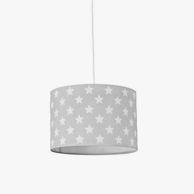 lmpara infantil de techo cilndrica gris con estrellas blancas