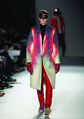 Kay Kwok  — MA Fashion Design Technology, Menswear    Some super bright sunburst patters.  The visors are very superhero.