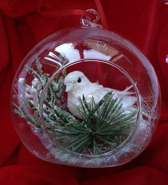Christmas Tree Doves: Dove Christmas Tree Ornament/White Glitzy By