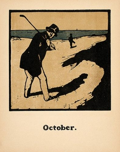 NICHOLSON, William. October [Golf]. #golf #vintage #sports #lithograph