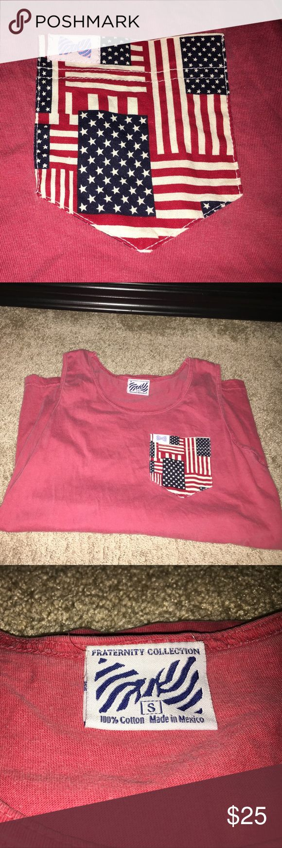 Fraternity collection USA red white & blue tank Special edition USA, American flag front pocket // size small no stains, rips, or signs of wear Simply Southern Tops Tank Tops