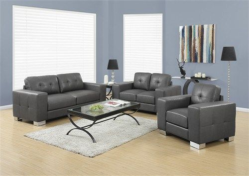 Chair - Charcoal Grey Bonded Leather / Match - Monarch Specialty I-8221GY