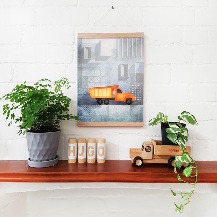 Who said trucks can't be beautiful? Dump Truck Art Print by Common Wild. The perfect addition to a construction theme children's bedroom.