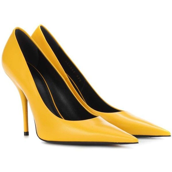 Balenciaga Leather Pumps ($750) ❤ liked on Polyvore featuring shoes, pumps, yellow, balenciaga, leather footwear, yellow leather shoes, leather shoes and balenciaga shoes