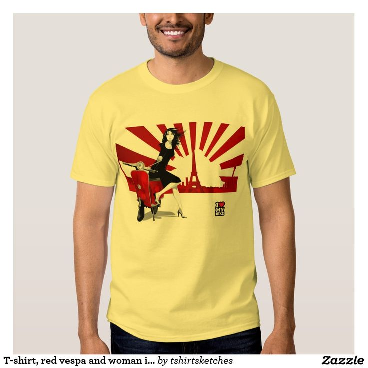 T-shirt, red vespa and woman in Eifel tower T Shirt