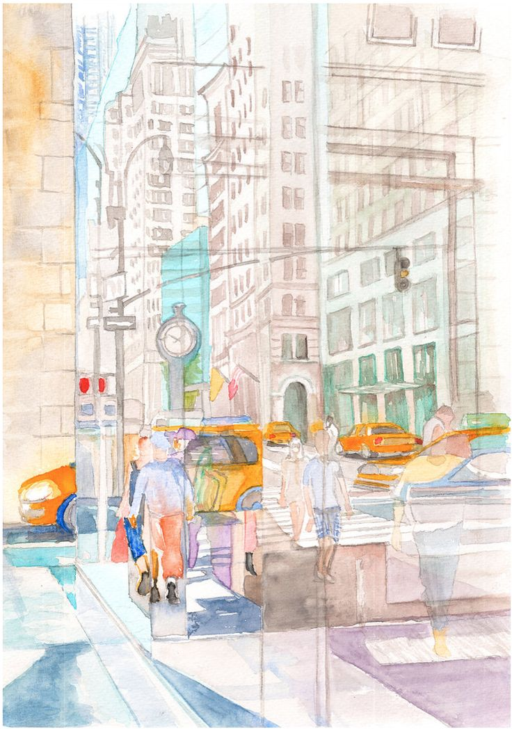 Reflection in the New York City windows II #watercolor #art #painting #cityscape #abstraction #print #urban  #street #architect #illustration