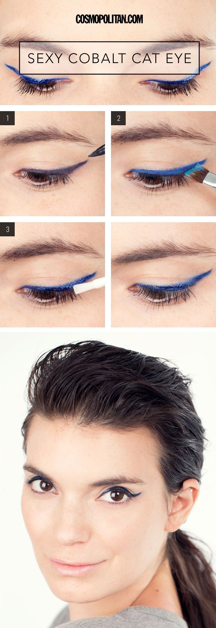 SEXY BLUE CAT EYE MAKEUP TUTORIAL: Winged eyeliner doesn't have to be black to look chic. Take a cue from this cobalt cat eye and use the tips below from makeup artist Lauren Cosenza to copy this cool-girl look. Click through to see this colorful and edgy cat eye beauty look, and for the easy tutorial you need to do it! Find more pretty makeup looks covering a complete range of styles from edgy and funky ideas to natural and pretty looks at Cosmopolitan.com. #Coolcatmakeupideas