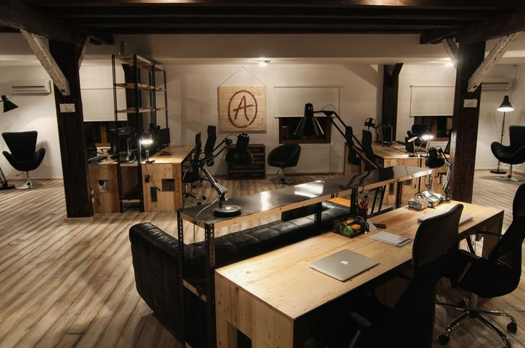office interior design with bold industrial rendering in modern style nice diagonal setting of third floor office design with black furniture and